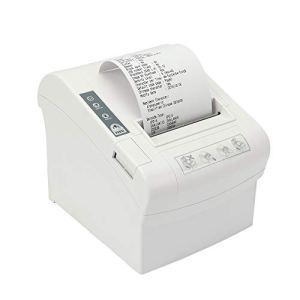 3'1/8 Imprimante de Reçus 80 mm Thermiques Commande ESC/POS/Imprimante de Position de Port USB/Série/Ethernet/LAN avec Support de Découpe Automatique-Blanc