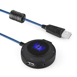 HWZDQLK Carte Son USB Externe, Adaptateur de Casque stéréo for PC, Ordinateurs Portables, PS4 et Xbox, concentrateur USB Plug and Play for Windows, Vista, Mac et iOS