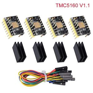 Kingprint TMC5160 v1.1 Stepper Motor Stepstick Mute Silencieux Driver Support SPI avec dissipateur thermique pour carte de contrôle d'imprimante 3D (4 pièces)