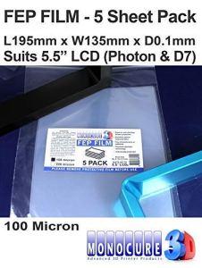 Monocure3D 3DFF510-5P FEP Film, 100 microns (paquet de 5) pour imprimante LCD SLA / DLP de 5,5″ (195x135x0.1mm)