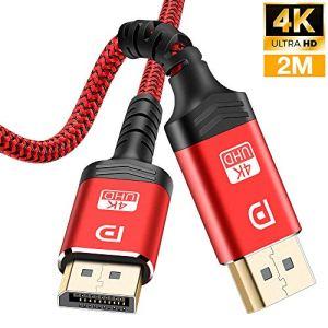 Câble DisplayPort 2M,Câble DP 4K en nylon tressé[4K@60Hz,1440p@144Hz],Câble DisplayPort vers DisplayPort Câble pour ordinateur portable, TV, TV,PC ASUS/Dell/Acer – Câble de moniteur de jeu (Rouge-New)