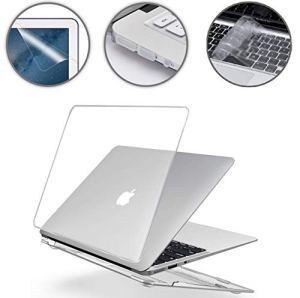 i-Buy Coque Rigide Housse pour Apple MacBook Air 13 Pouces (Modèle A1369/A1466) + Clavier Coque de Protection + Film de Protection d'écran + Protection Anti-poussière – Transparent Clair