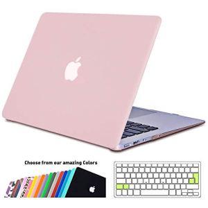 iNeseon Coque Macbook Air 13 Pouces, Cover Étui de Protection Rigide avec EU Transparent Couverture de Clavier pour MacBook Air 13.3 Pouces Modèle A1466 et A1369, Quartz rose