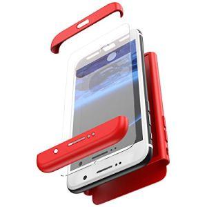 JAWSEU Coque Compatible avec Samsung Galaxy S7 Edge,Ultra Mince 3 en 1 Rigide PC Étui Housse Hard Case 360 Degrés Full Body Verre tempéré Tempered Film Protection complète Bumper Case,Rouge