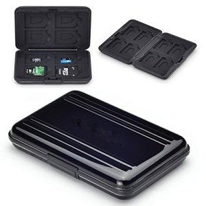 Flycoo Etuis pour Cartes Mémoire Protection Antichoc Anti-poussière Imperméable Antimagnétique boîte pour 8 SD Cartes 8 TF / Micro SD Cartes (Noir)
