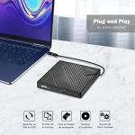 Rodzon Lecteur CD DVD Externe Type C USB 3.0,Graveur CD DVD Externe CD/DVD /-RW/ROM Transmission à Grande Windows 10/8 / 7 / XP/Vista/Linux/Mac OS