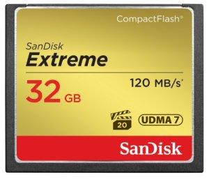 Carte mémoire CompactFlash UDMA7 SanDisk Extreme 32Go avec une vitesse de lecture allant jusqu'à 120Mo/s (SDCFXS-032G-X46)