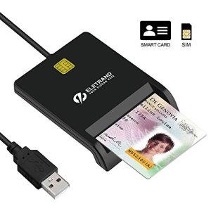 Eletrand Lecteur de Carte à Puce/ Smartcard Reader | Plug et Play | D'alimentation/ D'état-LED | Alimentation par Bus USB | Windows, Mac OS et Linux Compatible, Avec Câble de 92CM, Noir