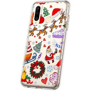 JAWSEU Compatible avec Huawei P30 Lite Coque Étui Transparent Silicone,Ultra Mince Souple TPU Cristal Clair Housse Coque de Protection avec Mode Belle Lovely Noël Motif,Aire de Jeux