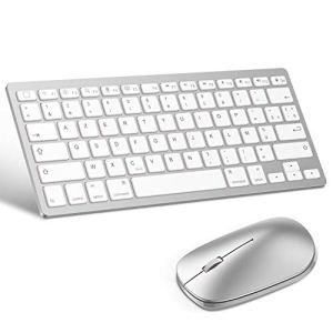 OMOTONClaviersansFilBluetoothiOS + Souris pour iPadOS 13 UltraMincepourTousLesiPad10.2,iPad9.7 AZERTYAccentué Blanc