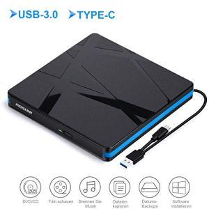 Lecteur DVD Externe USB 3.0,Type C Graveur CD Externe Portable Et Mince et Lége,Compatible Windows 10/8/7/XP/Vista, Laptop, Mac, Macbook Air/Pro, Desktop, PC