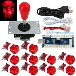 SJ@JX Arcade Game Stick DIY Kit Buttons with Logo LED 8 Way Joystick USB Encoder Cable Controller for PC MAME Raspberry Pi Red