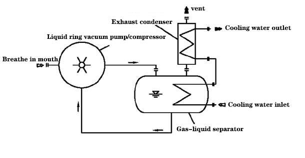 Liquid ring vacuum pump with integrated closed loop system
