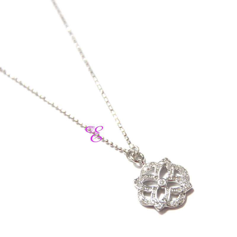 Loisir Sterling Silver Necklace with Platinum Plating and