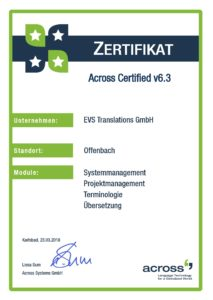 EVS Translations Acquires Across Certificate