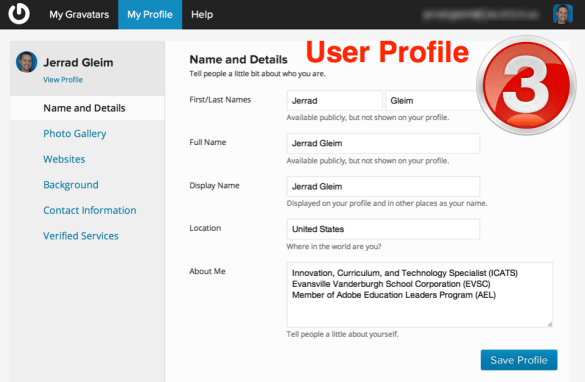 Edit your profile and personalize your Gravatar using the links in the sidebar.