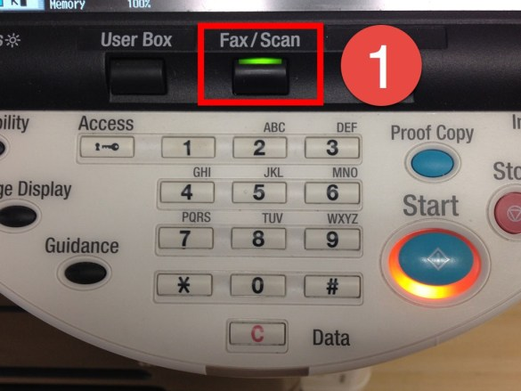 First, select the Fax option on your copy machine.