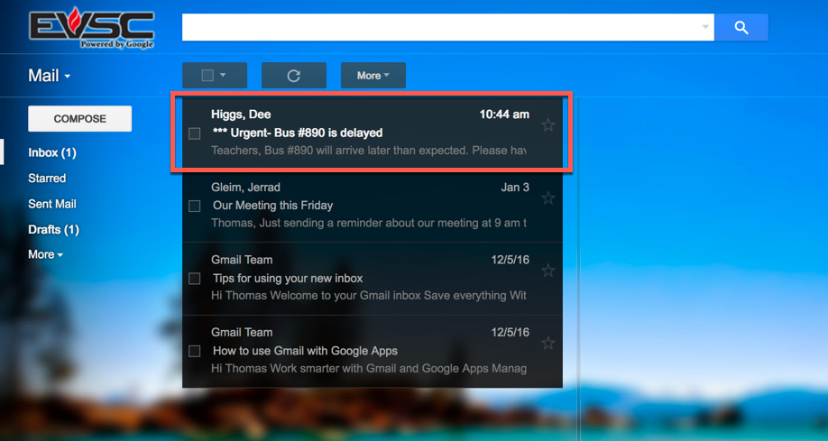 Gmail message - Send as High Importance | EVSC ICATS