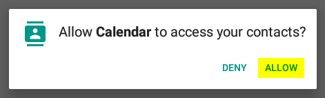 """Click """"Allow"""" to let Calendar have access to your contacts (used for sending invites)."""