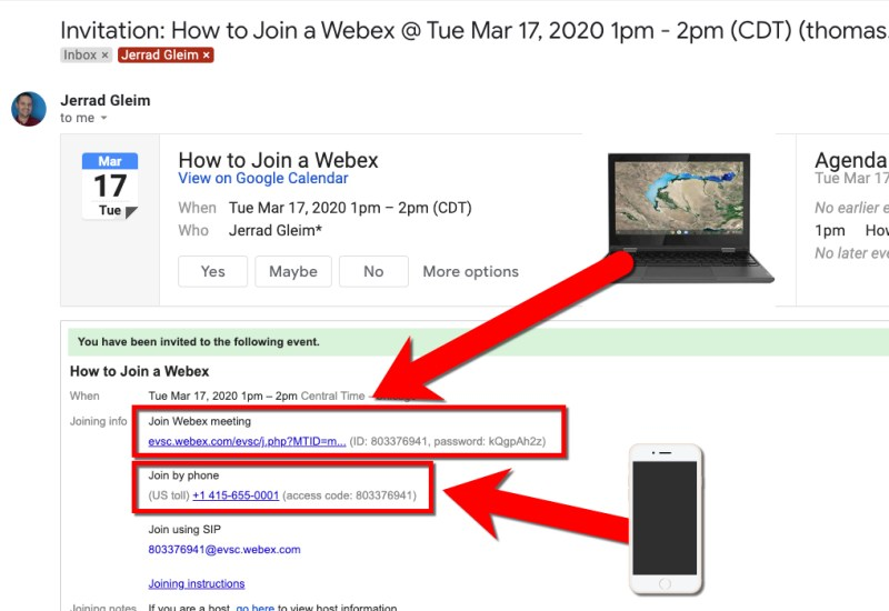 Join Webex using Gmail - Computer and Phone