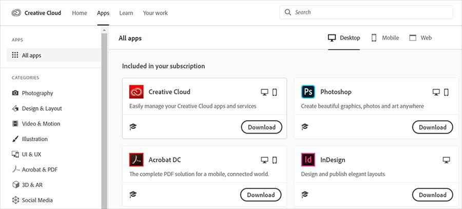Download Creative Cloud apps