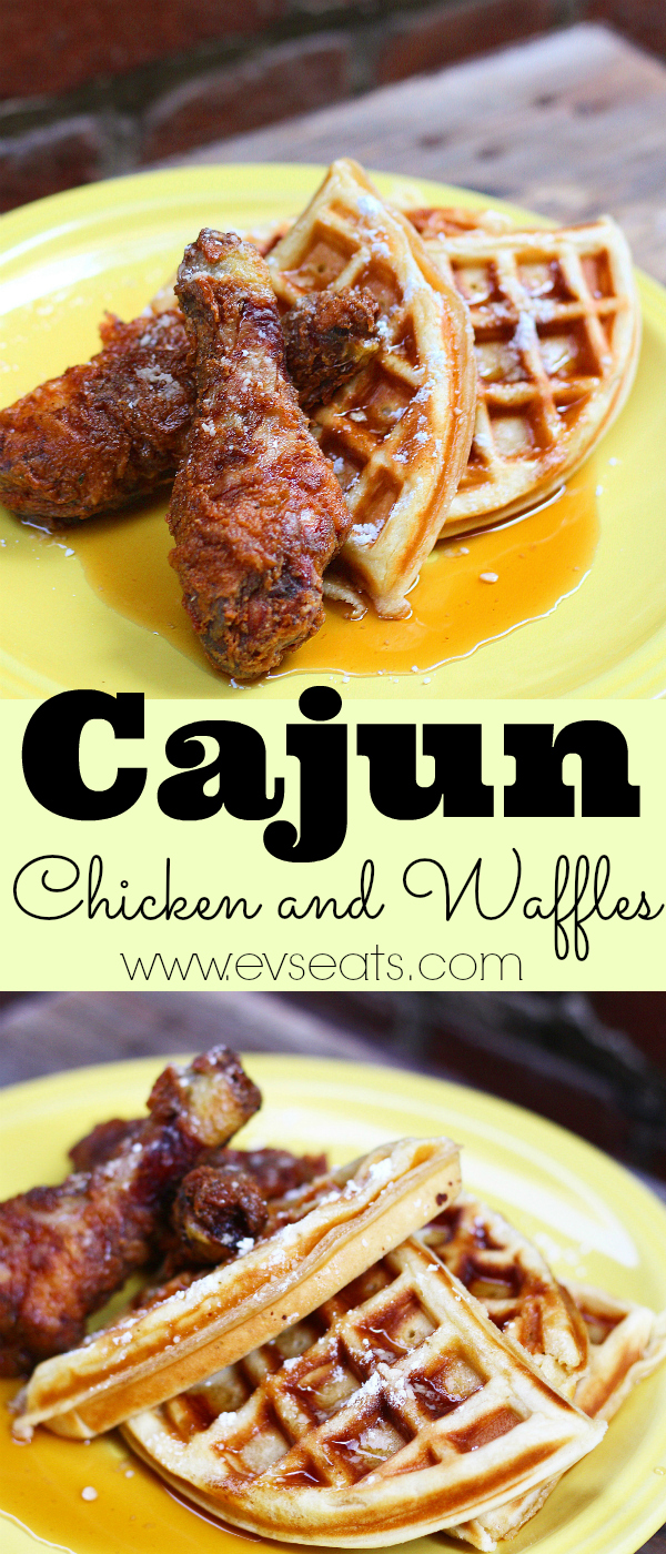 Cajun Fried Chicken and waffles are the perfect bite! Crunchy, spicy seasoned fried chicken with a slightly sweet crispy and fluffy waffle.