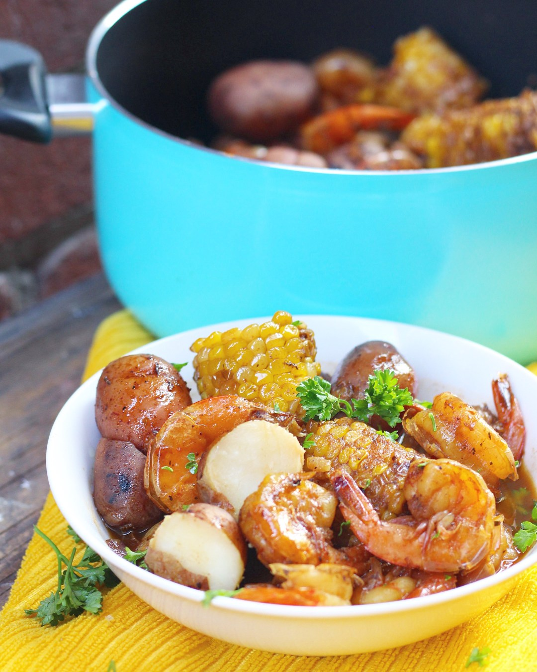 Easy Shrimp boil made all in one pot with shrimp, corn, potatoes, and San Pedro Fish Market's famous signature spice! Clean up is a breeze!