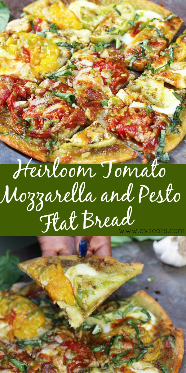 Fresh heirloom tomato, mozzarella, and pesto flat bread made with Dorot chopped basil and crushed garlic.
