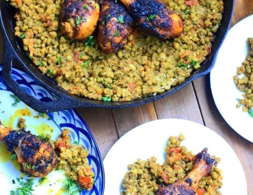 A blend of Ethiopian spices season berbere chicken and mung beans with rich, hearty, and heart warming flavors!