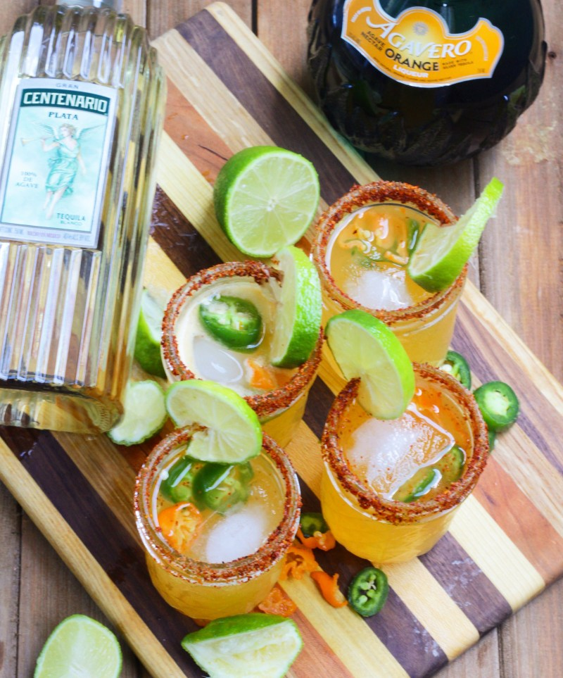 These spicy mango jalapeno margaritas are so delicious and refreshing, and kicked up a notch with the addition of jalapeno and habanero.