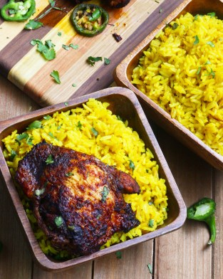 Harissa Chicken Thighs With Yellow Jasmine Rice  Evs Eats