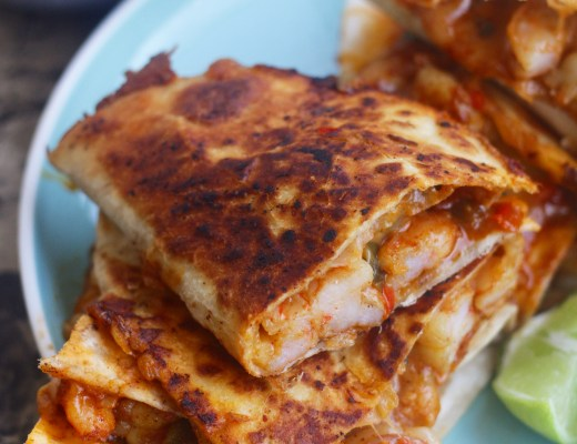 Spicy shrimp quesadillas marinated in cayenne, smoked paprika, cumin, garlic, and of course A LOT of cheese!