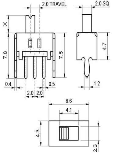 3 Pin Slide Switch (SS-12D07)