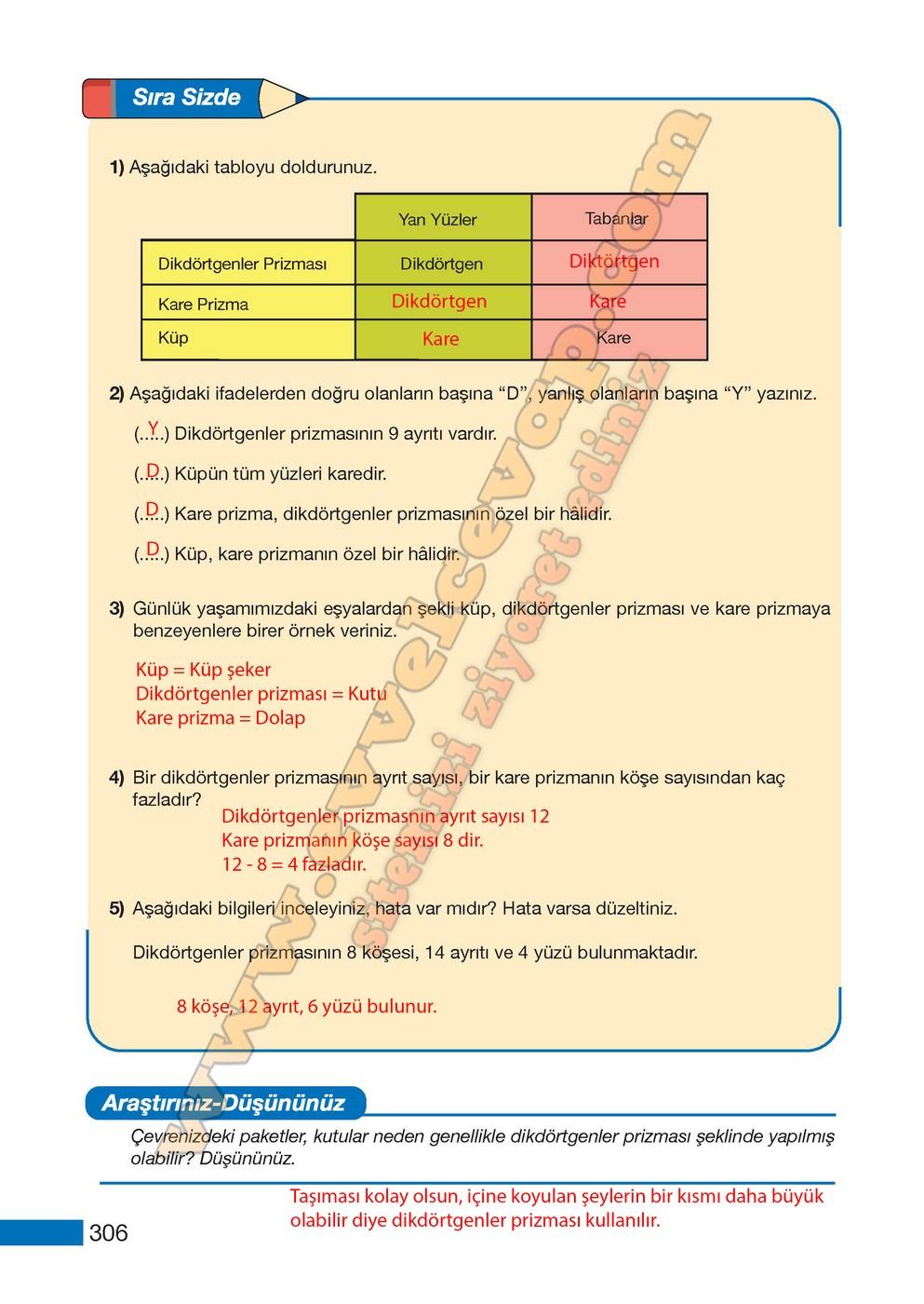 5 Sinif Meb Yayinlari Matematik Ders Kitabi Sayfa 306 Cevaplari
