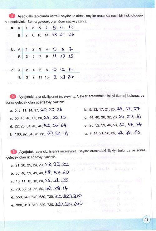 4 Sinif Yakin Cag Yayinlari Matematik Calisma Kitabi Sayfa 21 Cevabi