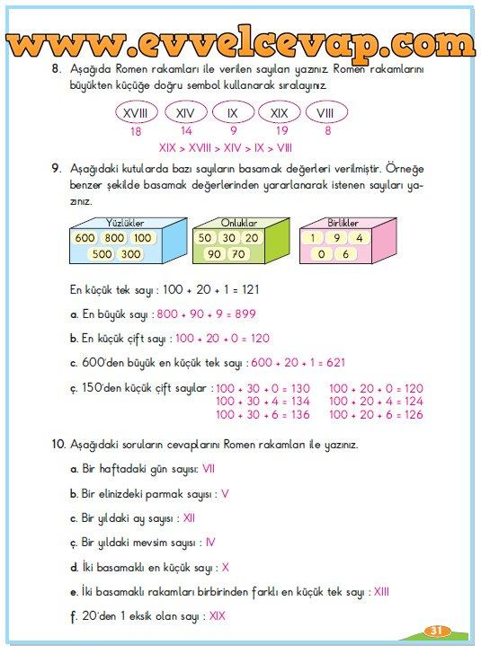 3 Sinif Berkay Yayinlari Matematik Calisma Kitabi Sayfa 31 Cevabi