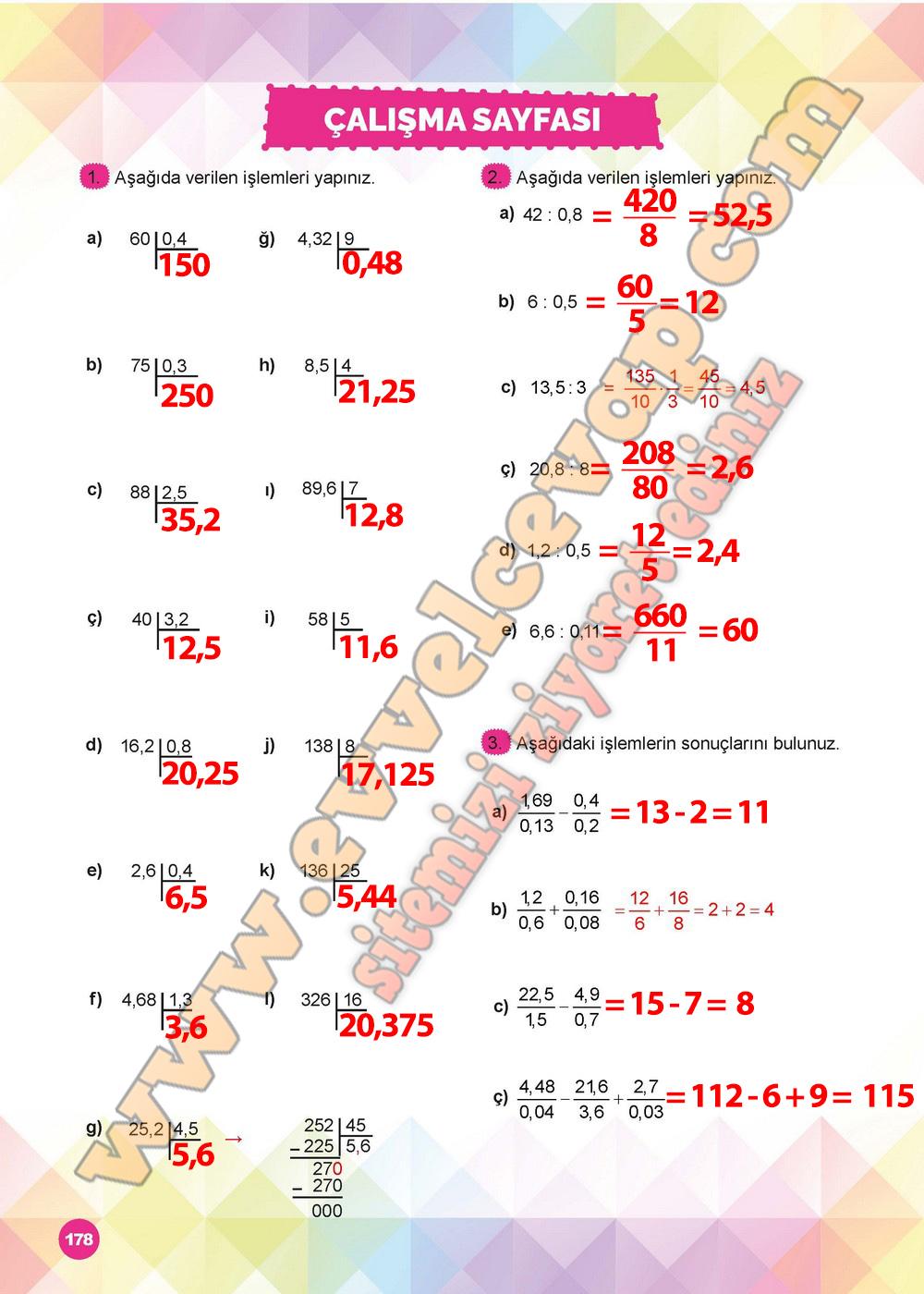 6 Sinif Matematik Ders Kitabi Meb Yayinlari Sayfa 178 Cevabi