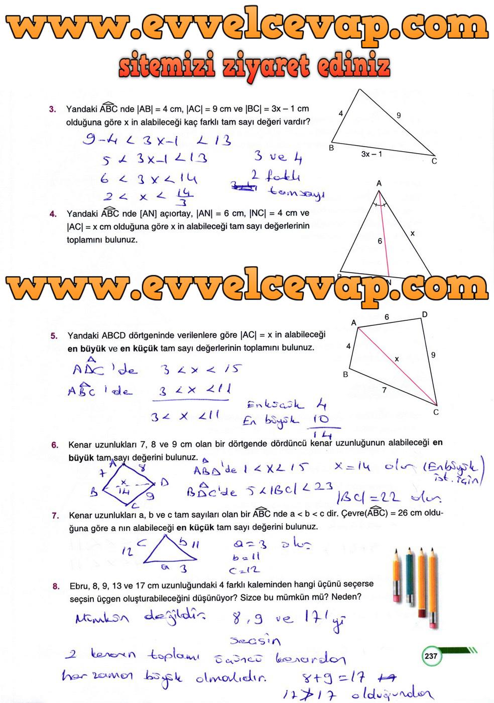 9 Sinif Odev Yayinlari Matematik Ders Kitabi Sayfa 237 Cevabi
