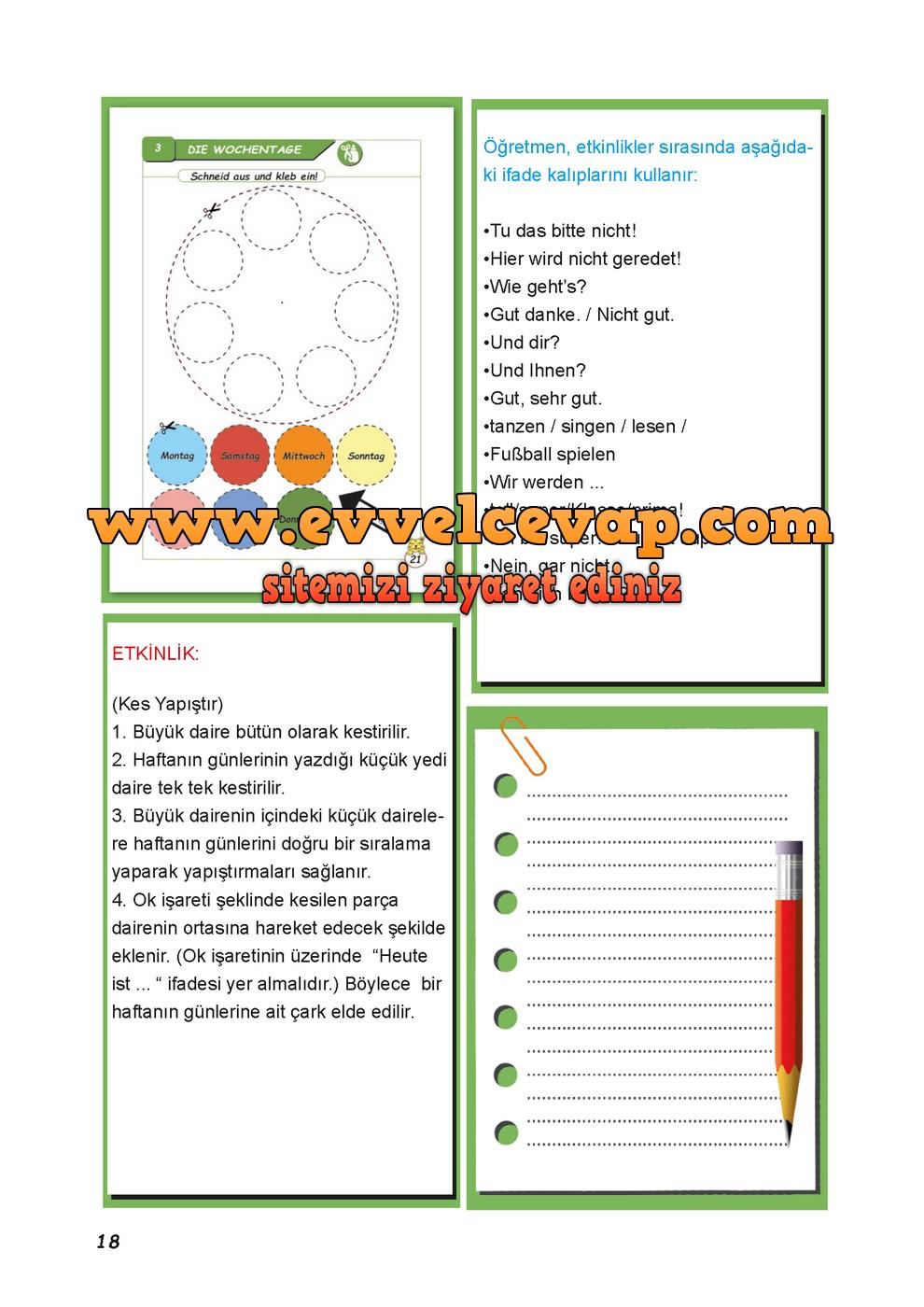 2 Sinif Almanca A1 Calisma Kitabi Sayfa 21 Cevaplari Meb