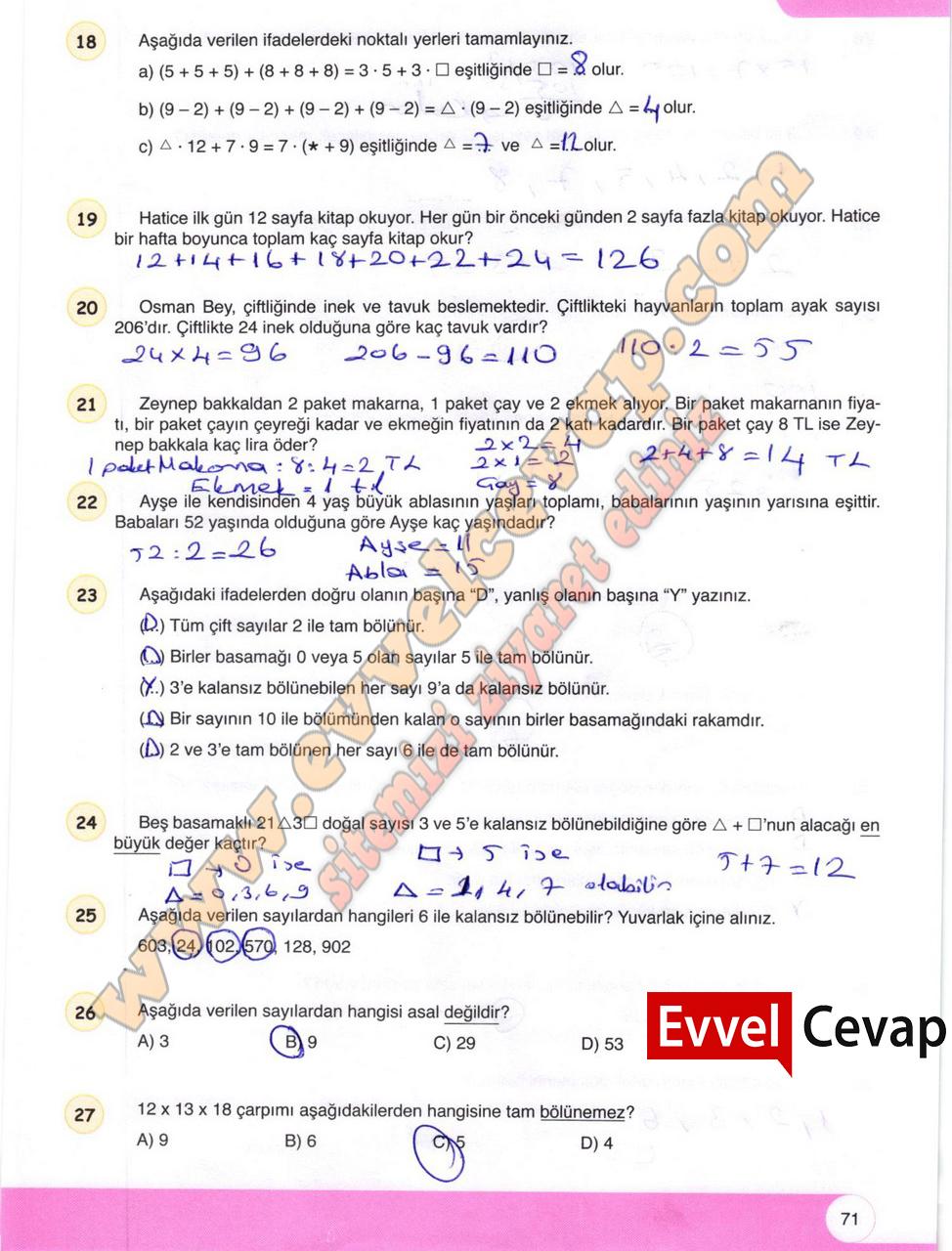 6 Sinif Matematik Ogun Yayinlari Ders Kitabi Cevaplari Sayfa 71