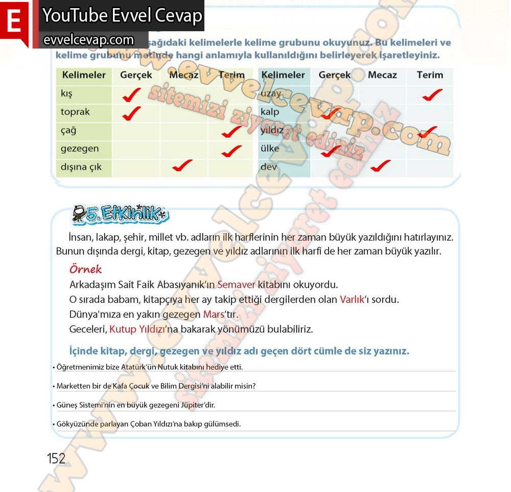 4 Sinif Koza Yayinlari Turkce Ders Kitabi Sayfa 148 150 151 152