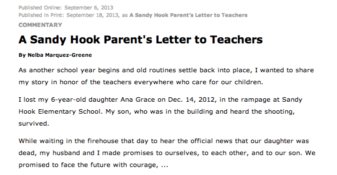 A Sandy Hook Parents Letter to Teachers  Education