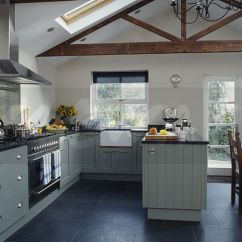 Slate Floor Kitchen Basic Cabinets Image Tiles In Modern White And Dining Room Extension With Grey Fitted Cupboards Apex Ceiling