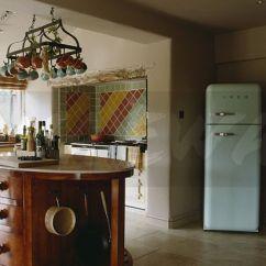 Tile Kitchen Floor Small Stoves Image: Limestone Flooring And Pale Blue Smeg Fridge ...