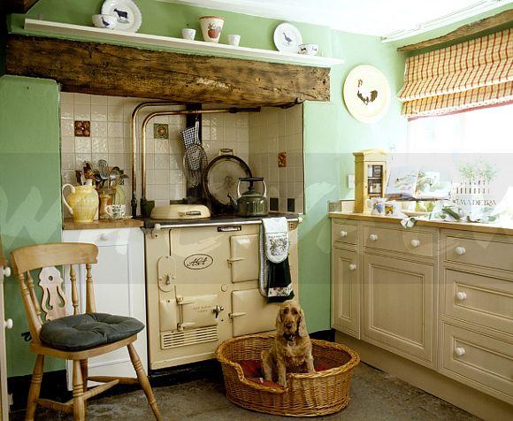 german kitchen cabinets deco image: cocker spaniel sitting in basket front of cream ...