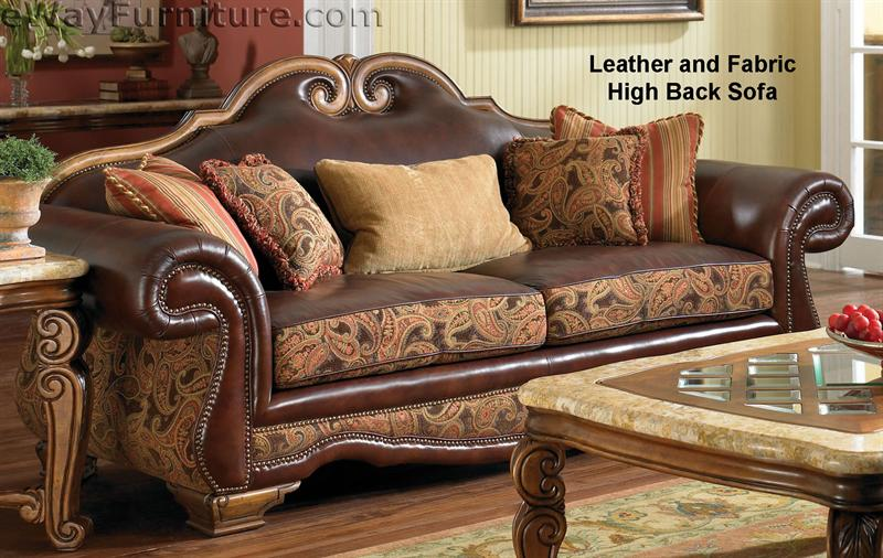 leather and fabric sofa in same room gambar bed inoac karakter giovanna brick high back