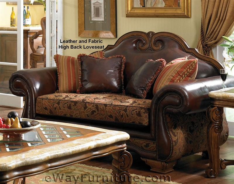 Giovanna Wood Trim Leather and Fabric Chair with Ottoman