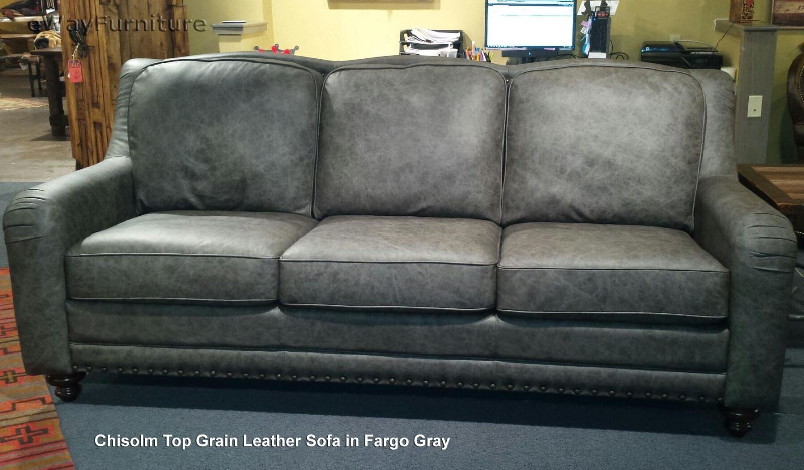 best sofas made in the usa one sofa and two chairs chisolm top grain leather fargo gray