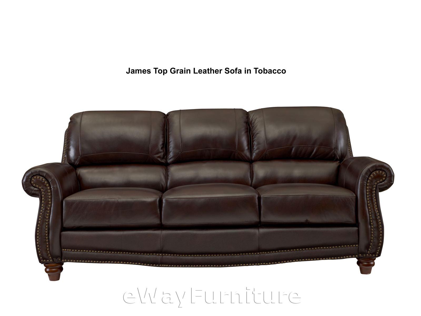 James Top Grain Leather Sofa in Tobacco