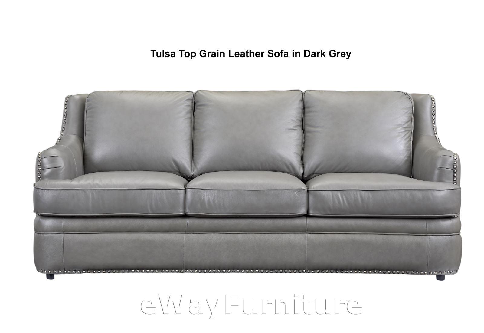 leather sofas in tulsa ok sofa accent pillow covers top grain dark grey